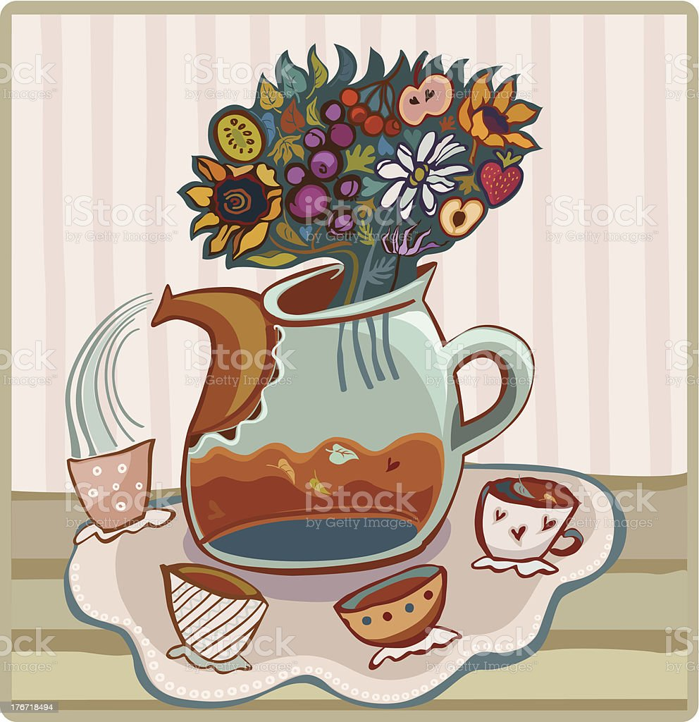 Teapot and Cups royalty-free stock vector art