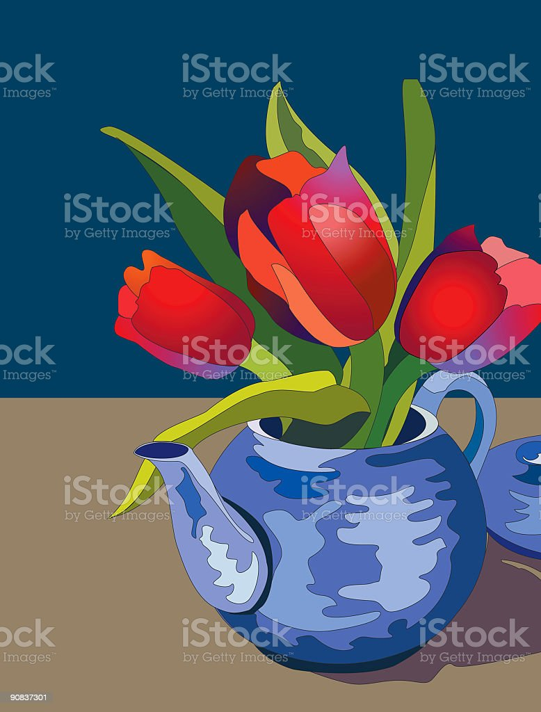 Teapot and Tulips royalty-free stock vector art