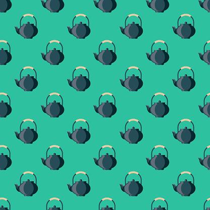Teapot Chinese New Year Seamless Pattern