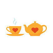 Teapot, cup icon. Vector. Yellow tea-set with red hearts. Teacup with steam and teapot, isolated on white background. Flat design. Cartoon colorful illustration. Clay tableware.