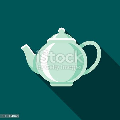 A flat design styled coffee & tea icon with a long side shadow. Color swatches are global so it's easy to edit and change the colors.