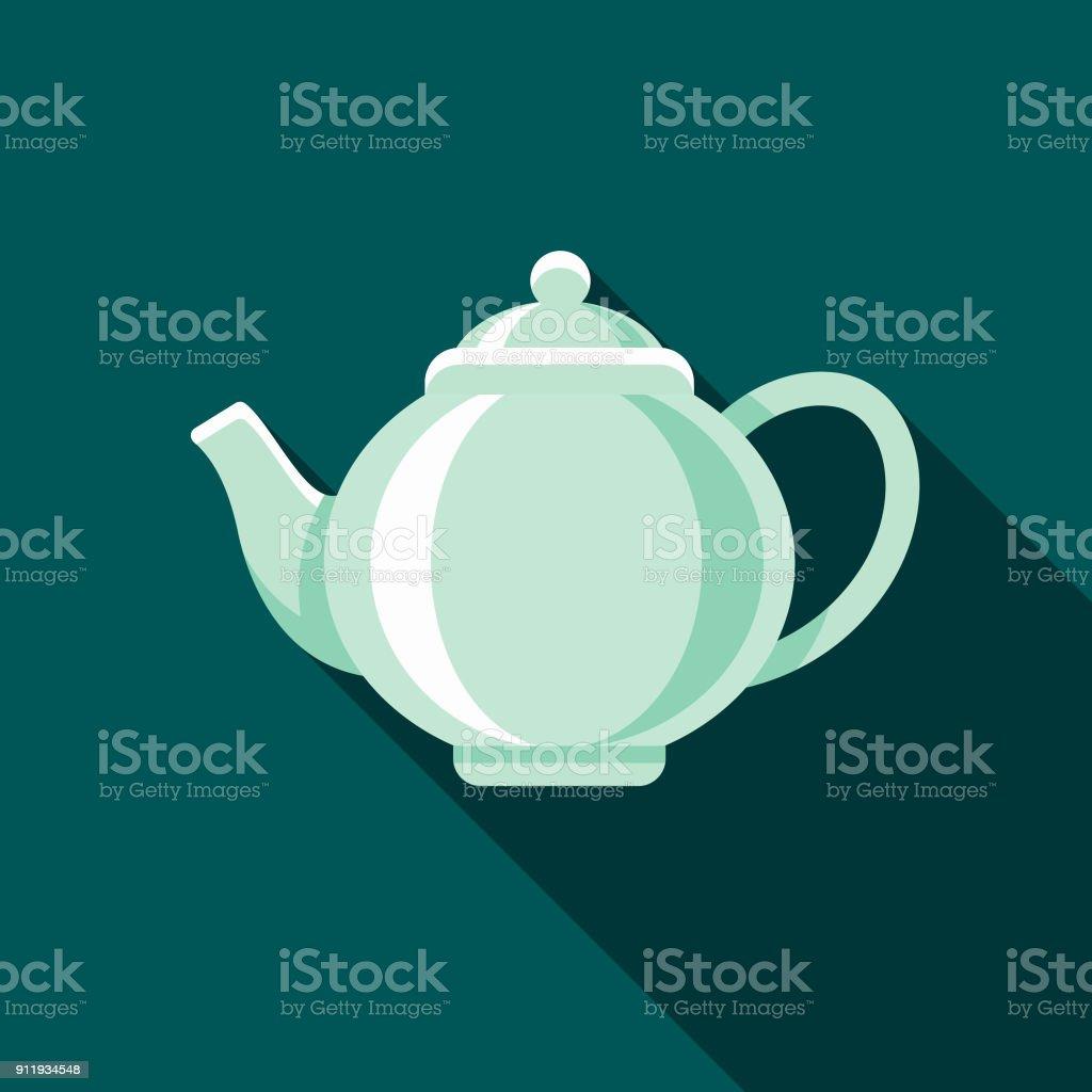 Teapot Flat Design Coffee & Tea Icon vector art illustration