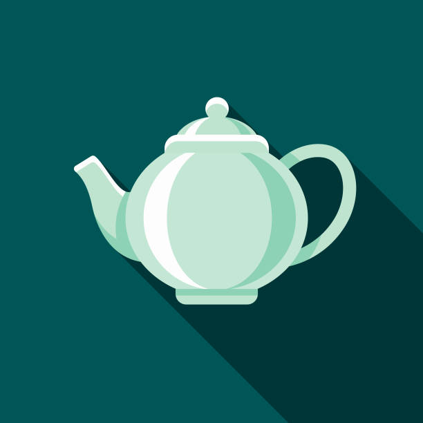 Teapot Flat Design Coffee & Tea Icon A flat design styled coffee & tea icon with a long side shadow. Color swatches are global so it's easy to edit and change the colors. teapot stock illustrations