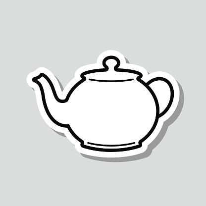 Teapot. Icon sticker on gray background