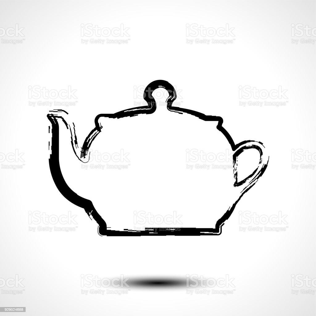Teekanne Wasserkocher Tee Wasserkocher Ikone Stilisierte Vektor ...