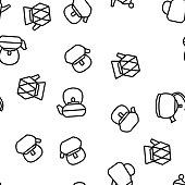 Teapot Kitchen Utensil Vector Seamless Pattern Thin Line Illustration