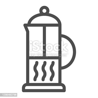 istock Teapot line icon, Kitchen appliances concept, Plastic or glass jar for brewing hot tea sign on white background, Teapot icon in outline style for mobile concept, web design. Vector graphics. 1256460798