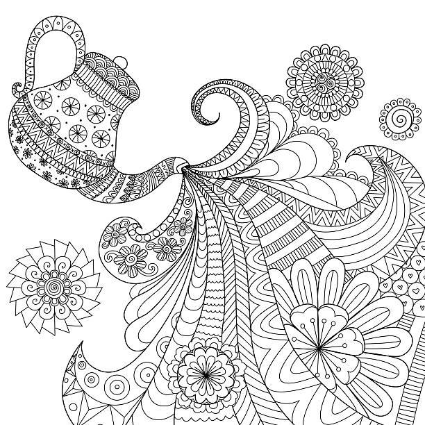 Teapot pouring tea vector art illustration