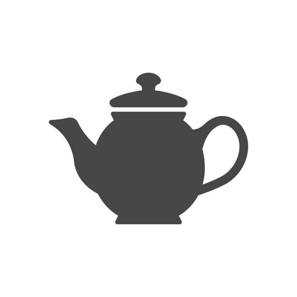 Teapot silhouette illustration icon isolated on white background. Teapot silhouette illustration icon isolated on white background. teapot stock illustrations