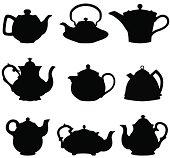Set of nine teapot silhouettes.