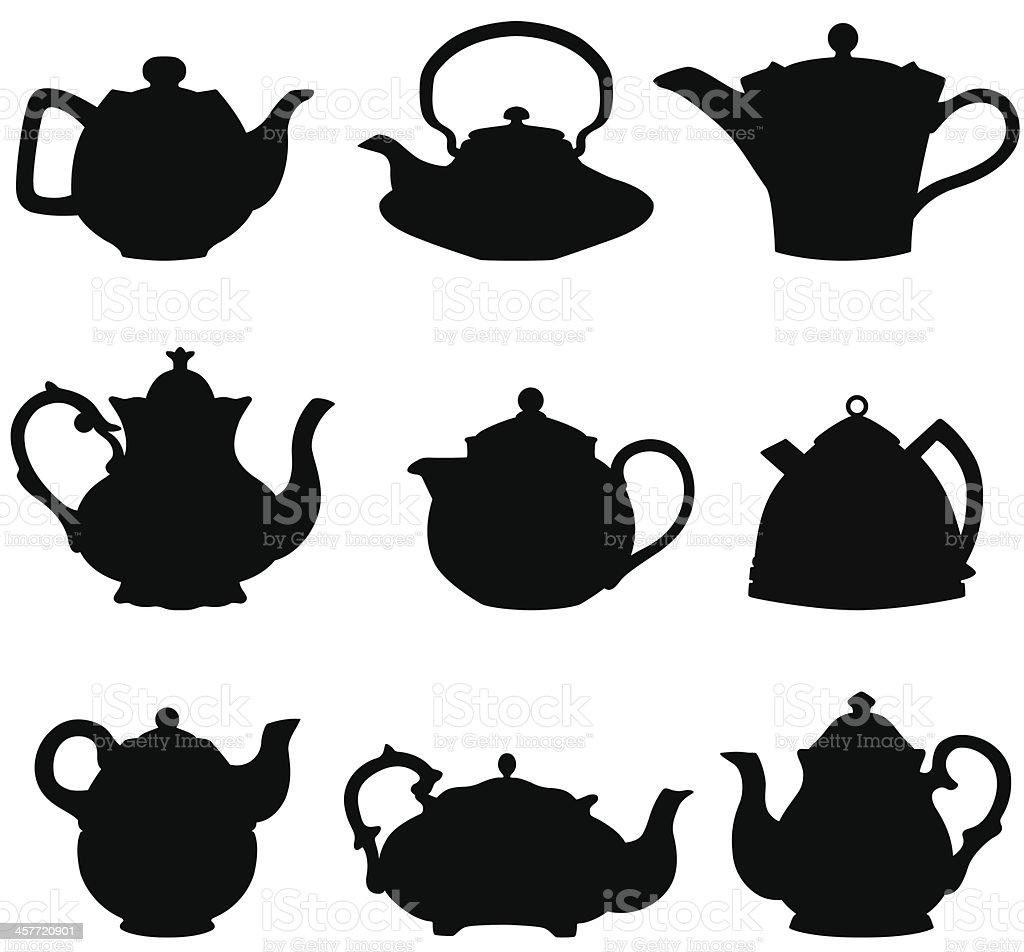 Teapot silhouettes vector art illustration