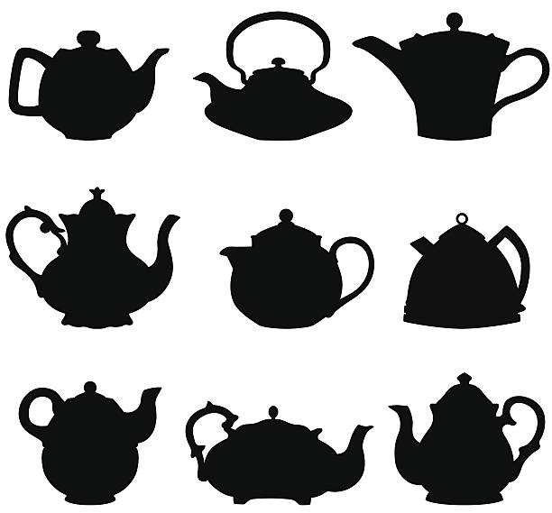 Teapot silhouettes Set of nine teapot silhouettes. teapot stock illustrations