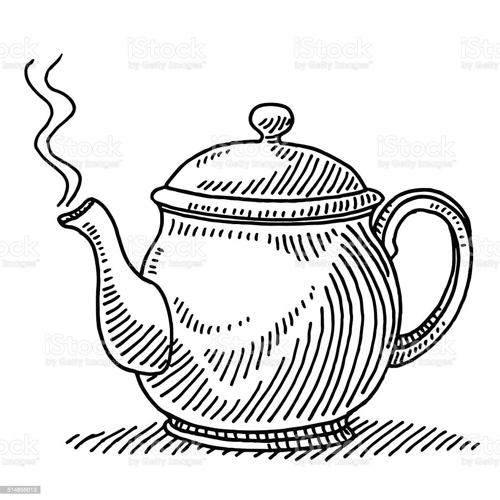 Teapot Steam Drawing Stock Vector Art & More Images of ... Boiling Teapot Clipart