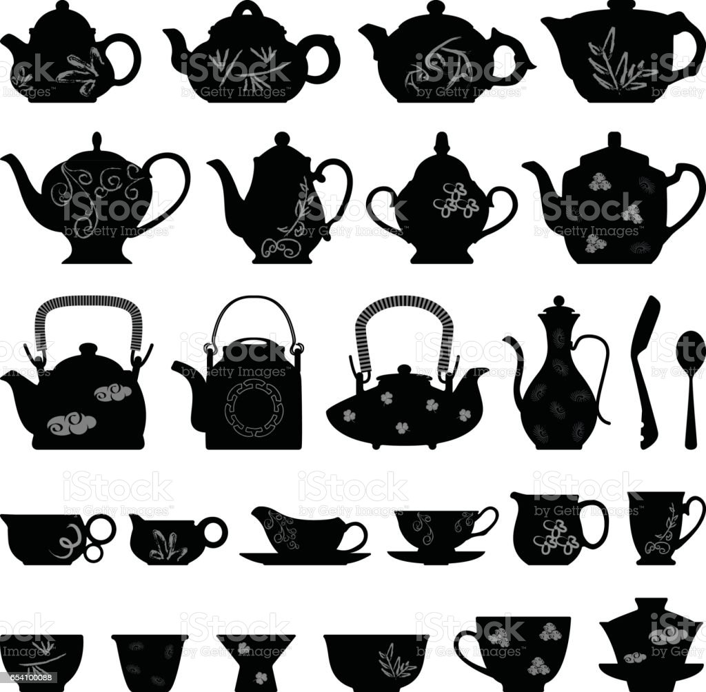 Teapot Tea Cup in Silhouette Vector vector art illustration