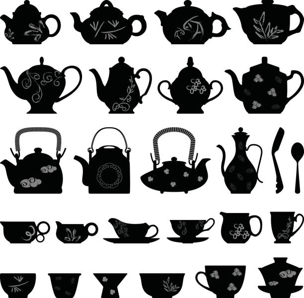 Teapot Tea Cup in Silhouette Vector A set of Asian oriental (Chinese, Japanese, and Korean) teapots and tea cup designs in silhouette vector. teapot stock illustrations