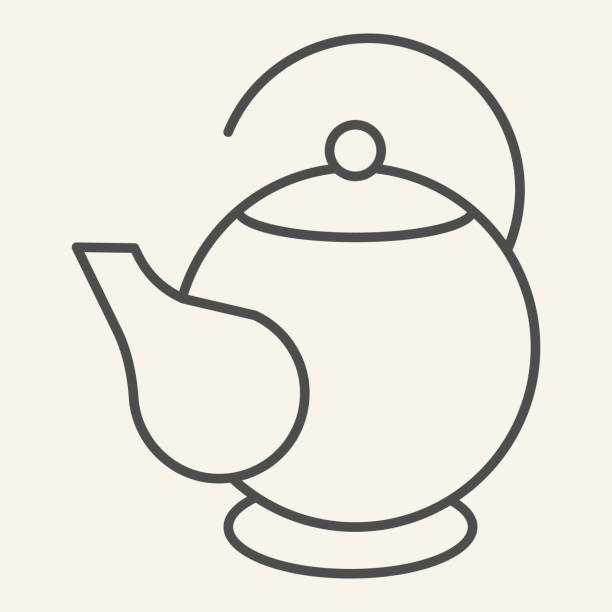 Teapot thin line icon. Ceramic kettle for tea symbol, outline style pictogram on beige background. Oval teapot sign for mobile concept and web design. Vector graphics. Teapot thin line icon. Ceramic kettle for tea symbol, outline style pictogram on beige background. Oval teapot sign for mobile concept and web design. Vector graphics alcohol drink clipart stock illustrations