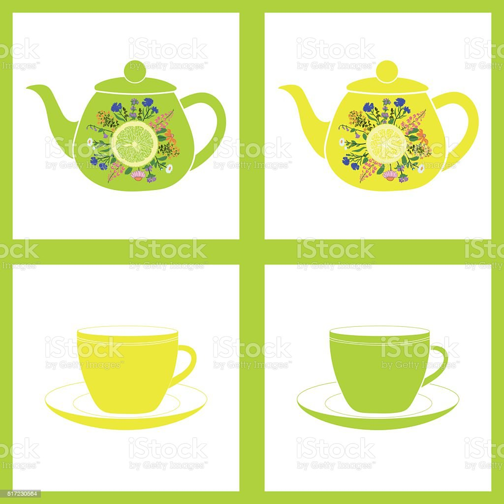 Teapot with cup, herbal tea. Seamless pattern. Vector background vector art illustration