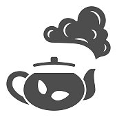 istock Teapot with tea solid icon, chinese mid autumn festival concept, boiling kettle sign on white background, kettle and steam icon in glyph style for web design. Vector graphics. 1285018049
