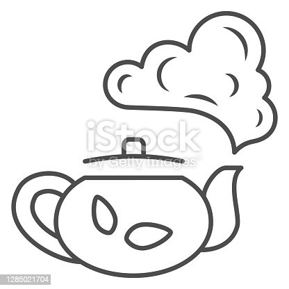 istock Teapot with tea thin line icon, chinese mid autumn festival concept, boiling kettle sign on white background, kettle and steam icon in outline style for web design. Vector graphics. 1285021704