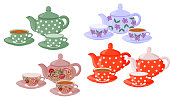 Vector set of isolated teapots, cups of tea and empty cups.