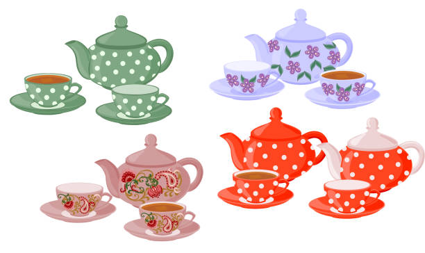Teapots and cups with different patterns. Vector set of isolated teapots, cups of tea and empty cups. teapot stock illustrations
