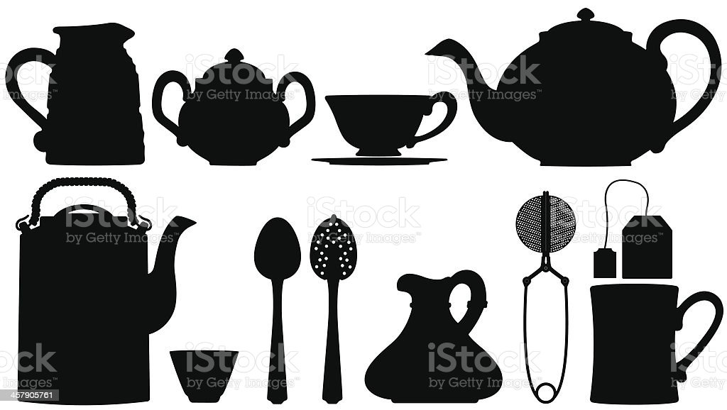 Teapots and tea accessories vector art illustration