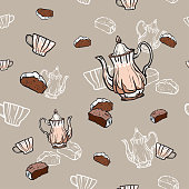 Teapots, cups and cake seamless pattern hand drawn in old style. Tea time vector illustration. Food pattern in retro hand drawn style for cafe menu, banner, flayer coffee shop, restaurant, fabric.