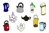 Hand drawn colorful set 'teapots', doodles