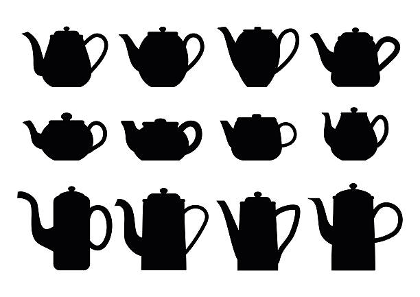 Teapots silhouettes of various shapes. Vintage teapots. Vector illustration. teapot stock illustrations