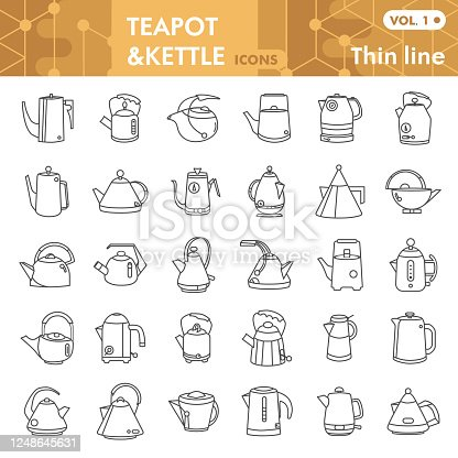 Teapots thin line icon set, kettles symbols collection or sketches. Coffee pot signs for web, linear style pictogram package isolated on white background. Vector graphics
