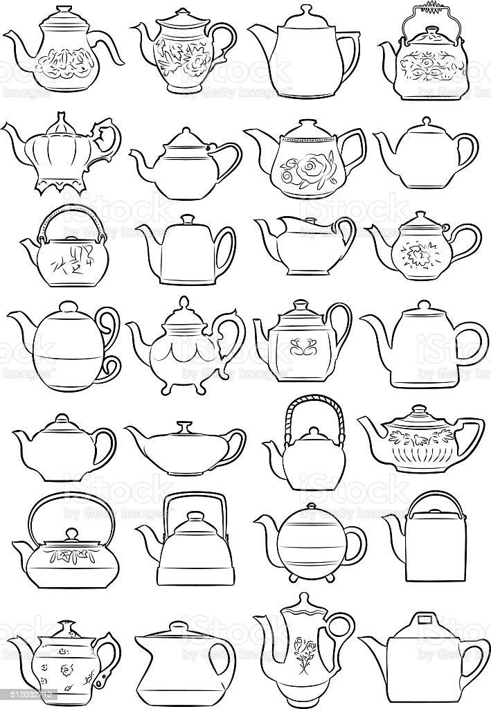teapots vector art illustration