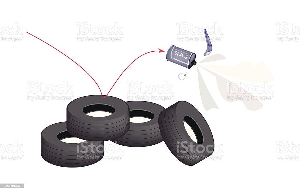 Tränengas Granatwerfer auf Reifen Barrier – Vektorgrafik
