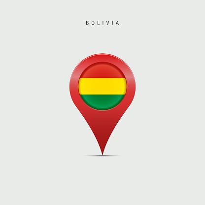 Teardrop map marker with flag of Bolivia. Vector illustration