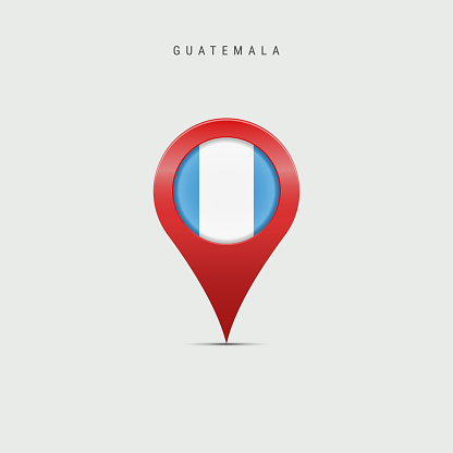 Teardrop map marker with flag of Guatemala. Vector illustration