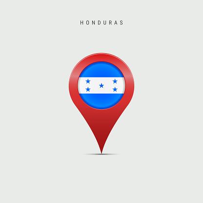 Teardrop map marker with flag of Honduras. 3D vector illustration