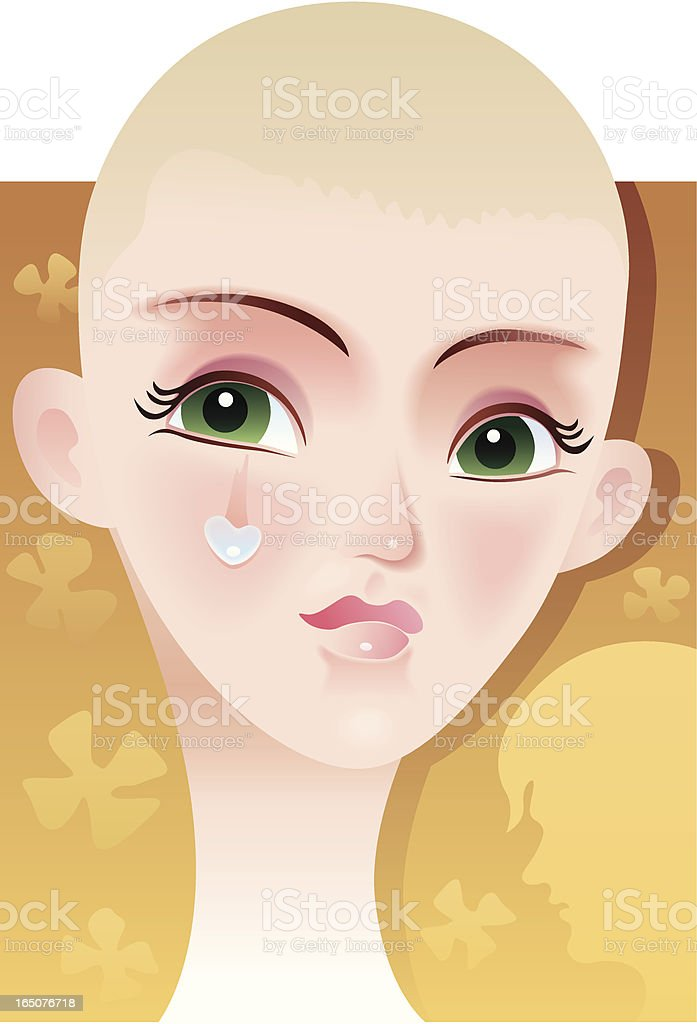 tear-stained face vector art illustration