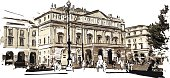 "Vector illustration of Theter ""La Scala"" in Milan in watercolor effect. Each color is placed on a single level. You can easily change the colors or change details according to your needs."
