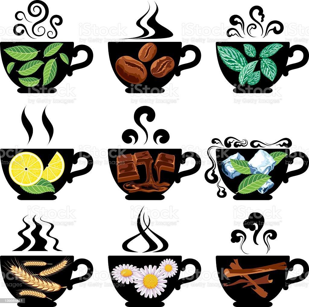 Teas, Coffee and Similar Drinks. royalty-free stock vector art