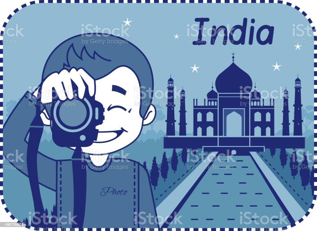 Teaser with photographer travels through India royalty-free stock vector art