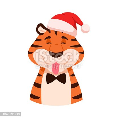 istock Teasing cheerful cartoon tiger shows tongue portrait isolated on white background. Happy playful smiling striped flat wildcat head in Santa hat. Christmas holiday orange animal vector illustration 1349291219