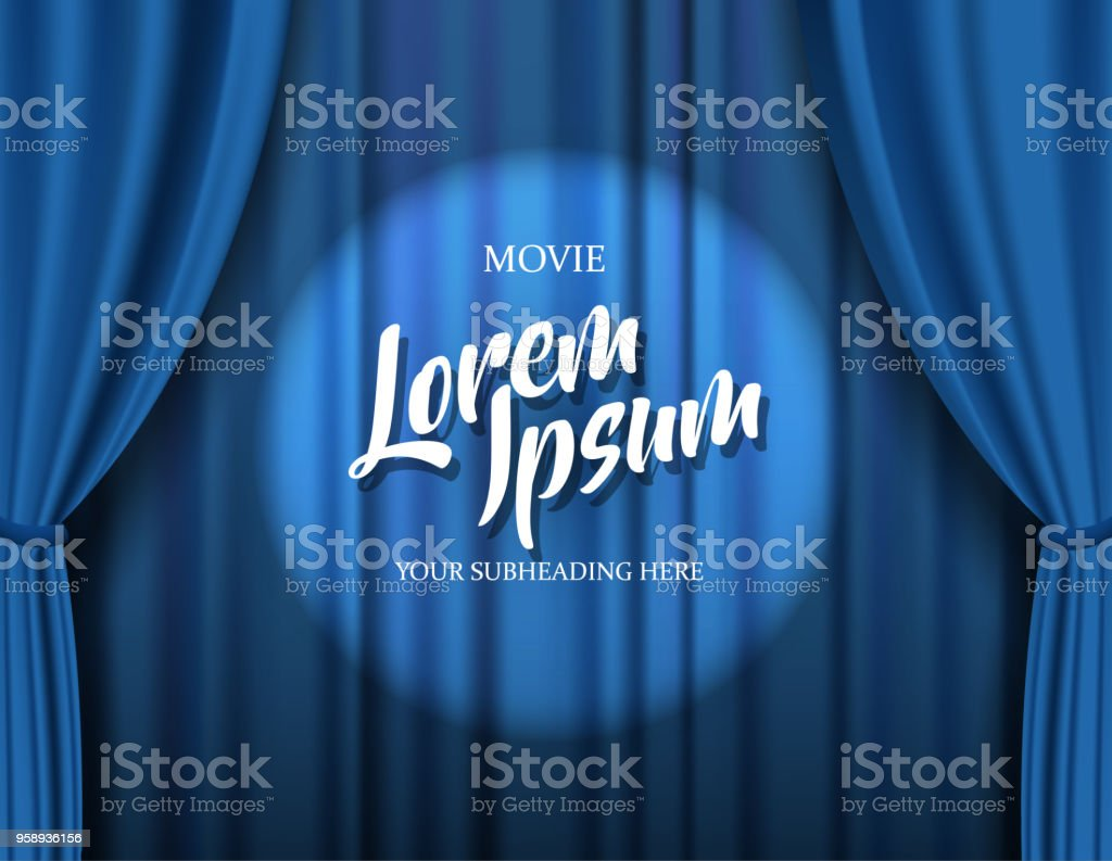 Teather stage template with red heavy curtain and golden text. royalty-free teather stage template with red heavy curtain and golden text stock illustration - download image now