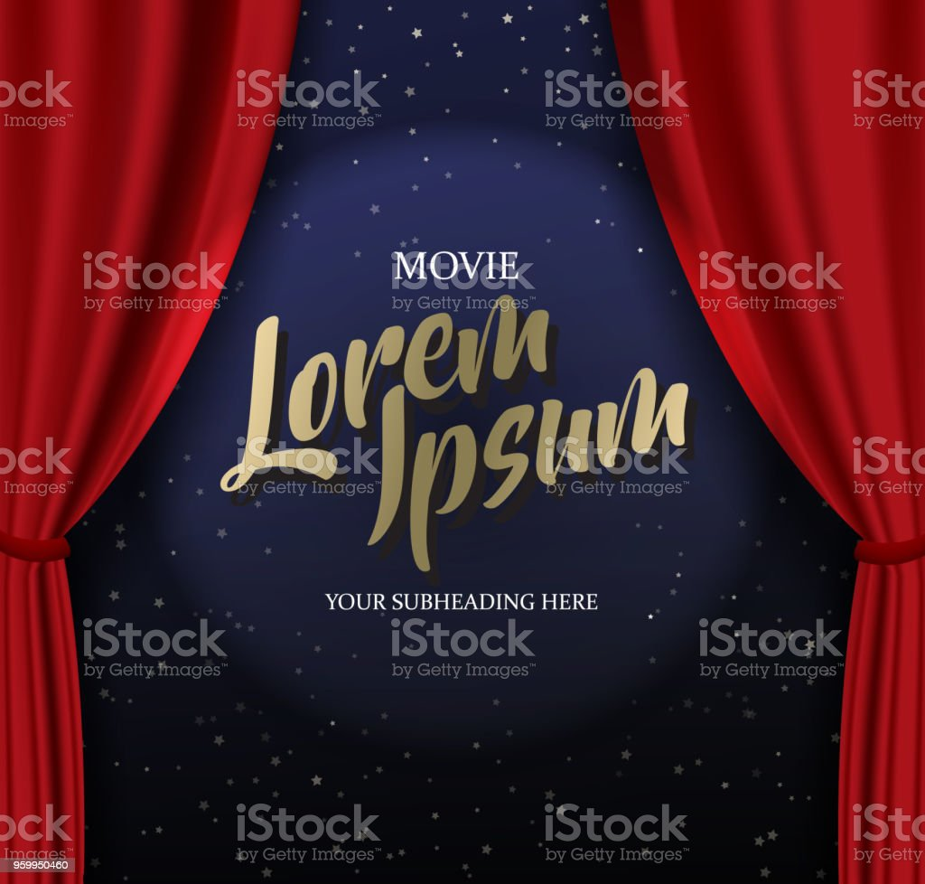 Teather stage template with red heavy curtain and golden text.