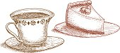 A sketch line art drawing of a cup of tea (or coffee) and a slice of cake for a tea party.