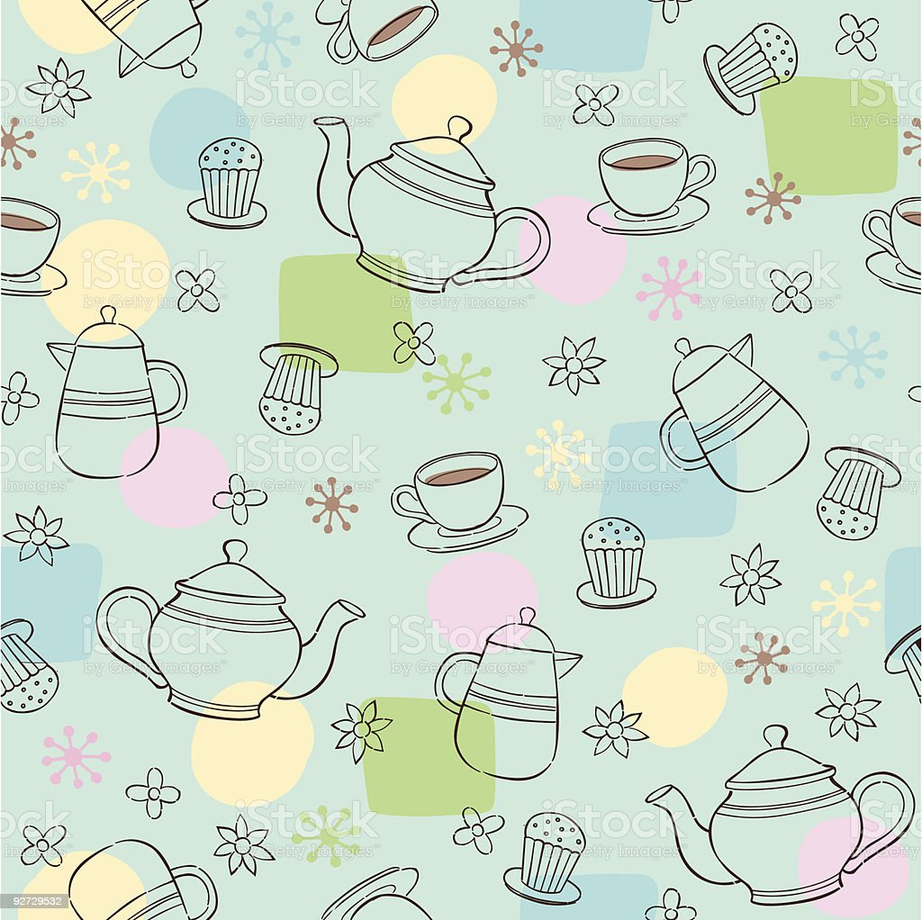 Teatime Seamless Repeat Pattern vector art illustration