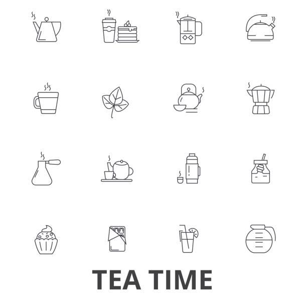 teatime, tee, teetasse, café, tea-party, am nachmittag getränke, kuchen, topf linie symbole. editierbare striche. flaches design vektor illustration symbol konzept. lineare zeichen isoliert - tassenkuchen stock-grafiken, -clipart, -cartoons und -symbole