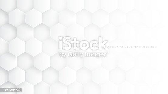 Technologic 3D Vector Hexagon Blocks White Abstract Background. Conceptual Sci-fi Hexagonal Structure Pattern Minimalist Light Wallpaper. Clear Blank Subtle Textured Banner Backdrop
