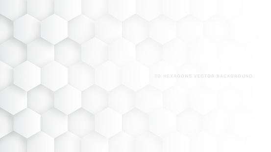Tech 3D Vector Hexagon Blocks White Background