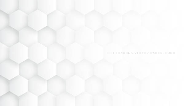 Tech 3D Vector Hexagon Blocks White Background Technologic 3D Vector Hexagon Blocks White Abstract Background. Conceptual Sci-fi Hexagonal Structure Pattern Minimalist Light Wallpaper. Clear Blank Subtle Textured Banner Backdrop white background stock illustrations