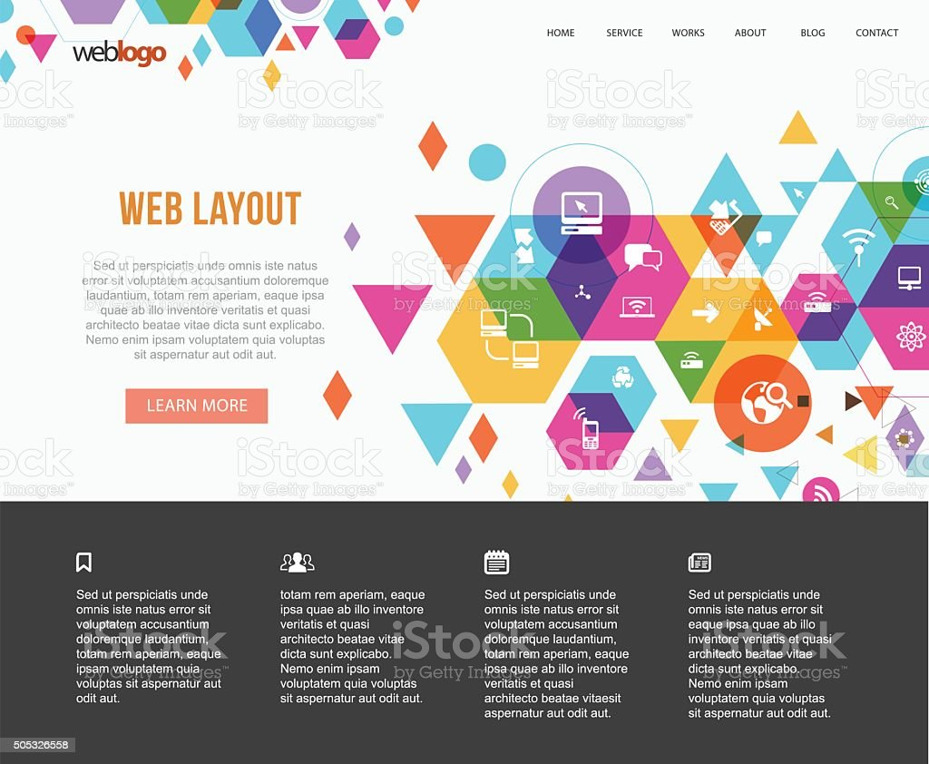 Tech based web design vector art illustration