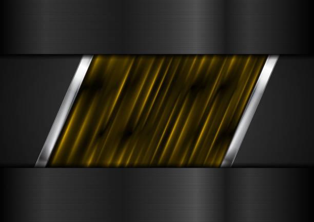 Tech black background with orange and metallic stripes vector art illustration